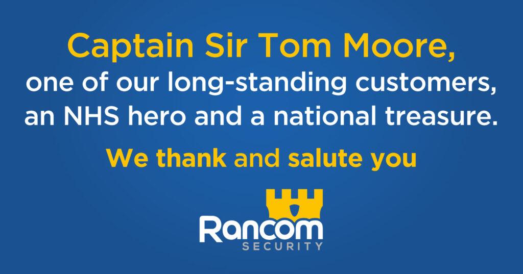 Captain Sir Tom Moore, one of our long-standing customers, an NHS hero and a national treasure. We thank and salute you